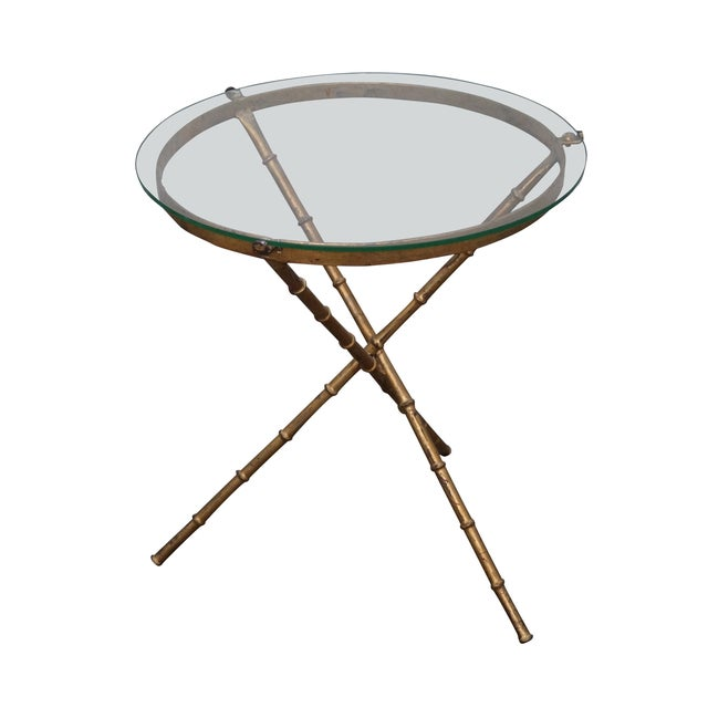 Vintage Gilt Metal Faux Bamboo Side Table For Sale