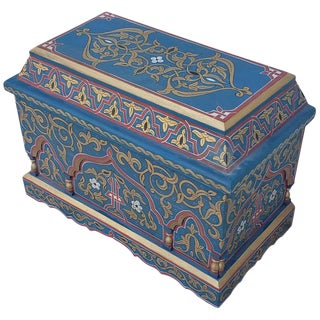 Vintage Hand Painted Moroccan Wooden Trunk For Sale
