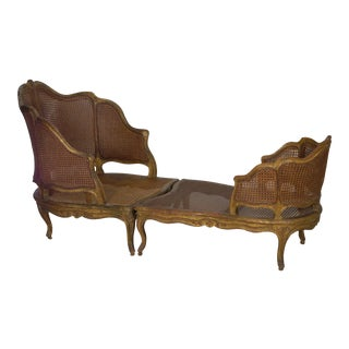 French Louis XV Style Antique Duchesse Brisée Arm Chair Lounge, 19th Century For Sale