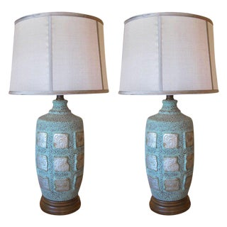 Maya Glyph Ceramic Lamps with Faux Copper Oxidized Finish - A Pair