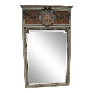 Early 18th Century Antique French Painted Trumeau Mirror For Sale