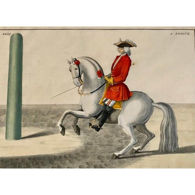 Four engravings of horse riders Le Soldat, Le Grand, Le Diligent, L' Enjoue. The Great Sholdier finely matted with a gilt...