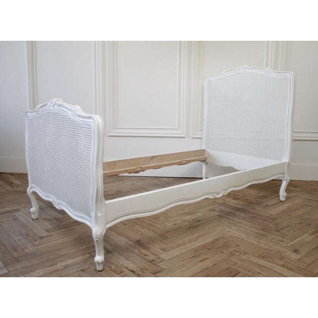 Reproduction Twin Carved and Painted Louis XV Style French Bed With Cane For Sale - Image 12 of 12