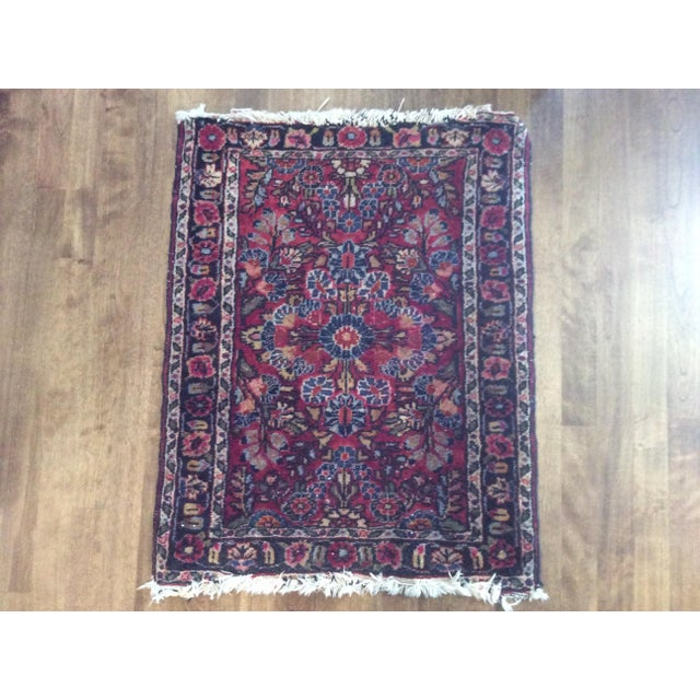Early 20th Century Antique Persian Purple/Red Wool Entry Size Area Rug - 2′ × 2′9″ For Sale - Image 5 of 5