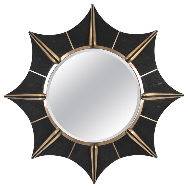 Not Yet Made - Made To Order Star Mirror in Black Shagreen and Bronze-Patina Brass by R & Y Augousti For Sale - Image 5 of 5
