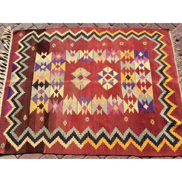 Hand Made Vintage Turkish Kilim Rug For Sale - Image 4 of 10