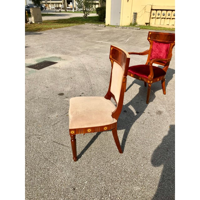 1910s Vintage Biedermeier Style Flame Mahogany Dining Chairs- Set of 8 For Sale - Image 10 of 13