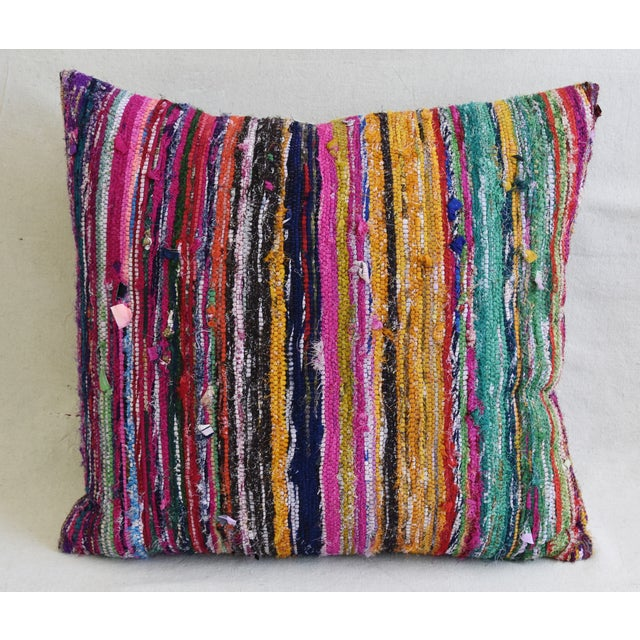 "Colorful Turkish Striped Rag Rug & Linen Feather/Down Pillow 22"" Square For Sale - Image 4 of 8"