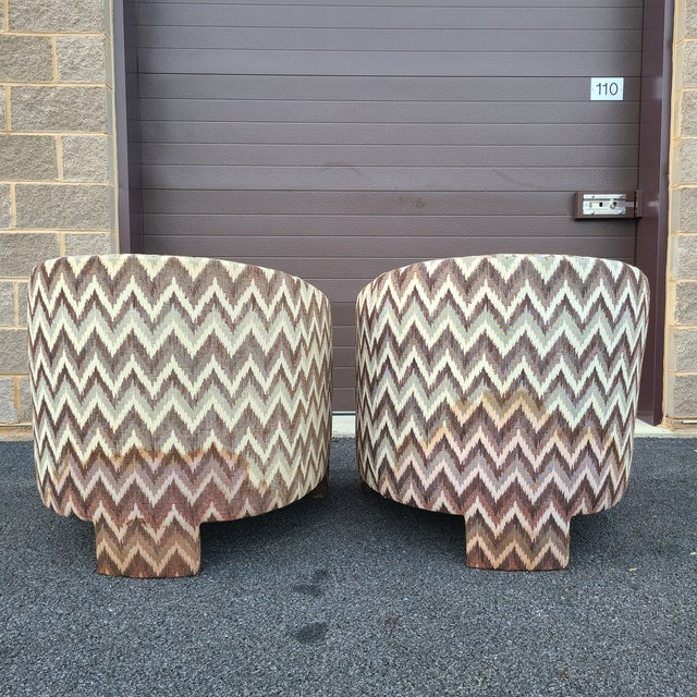 Milo Baughman for Founders Three Legged Barrel Chairs - a Pair For Sale - Image 10 of 13