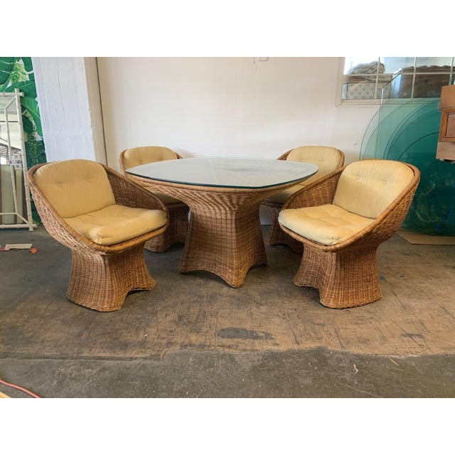Sculptural Wicker Dining Set, Table and Four Chairs For Sale - Image 10 of 10