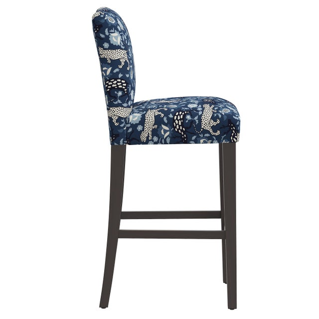 Transitional Bar stool in Leopard Blue For Sale - Image 3 of 8