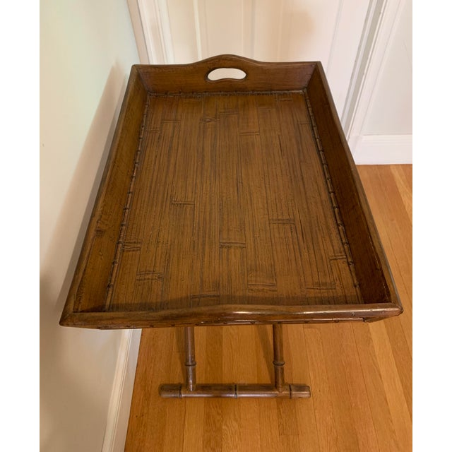 Wood 1960s Mid Century Faux Bamboo and Rattan Folding Tray Table For Sale - Image 7 of 12