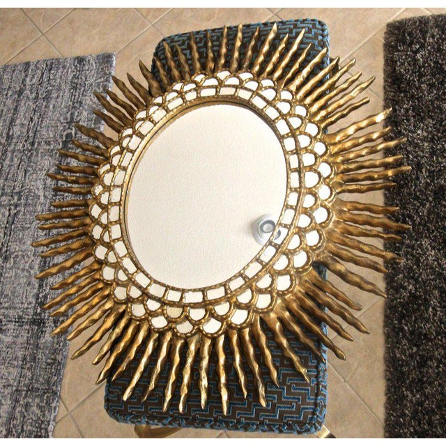 1970s Spanish Colonial Sunburst Oval Giltwood Wall Mirror For Sale In Palm Springs - Image 6 of 11