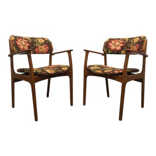 Erik Buch for Mobler Model 49 Teak Danish Mid Century Modern Arm Chairs - Pair For Sale