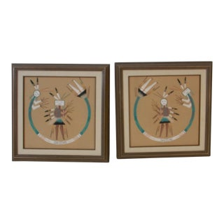 Native American Navajo Indian Vintage Sand Signed Paintings - a Pair For Sale