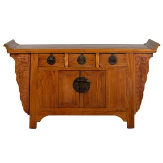 Chinese Antique Carved Altar Cabinet With Everted Flanges, Doors and Drawers For Sale