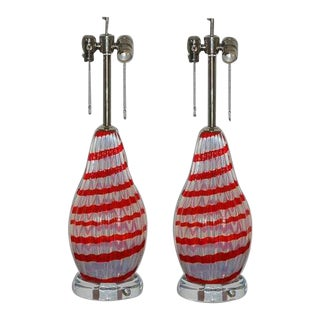 Vintage Murano White Opaline Glass Lamps For Sale