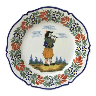 1940 Henriot Quimper French Faience Plate For Sale