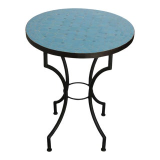 Mid 20th Century Moroccan Mosaic Tiles Blue Color Bistro Table For Sale