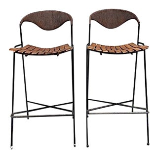 1950s Mid-Century Modern Arthur Umanoff Bar Stools - a Pair For Sale