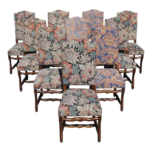 1900s Vintage French Louis XIII Style Os De Mouton Dining Chairs - Set of 10 For Sale - Image 13 of 13