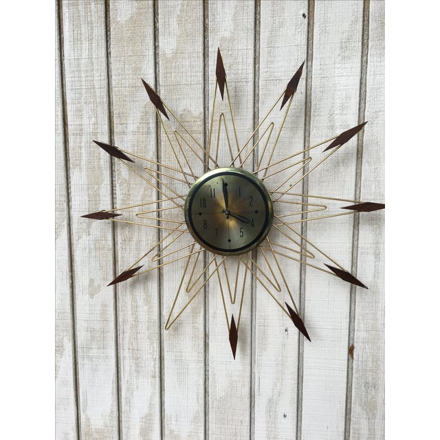 Mid-Century Modern Starburst Metal & Walnut Clock - Image 3 of 5