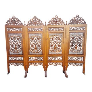 "Southeast Asian ""Lion Shanghai"" Hardwood 4-Panel Screen For Sale"