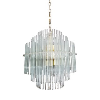 1970s Italian Gaetano Sciolari Glass Rod Chandelier For Sale