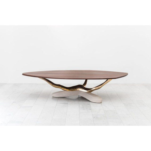 Markus Haase, Bronze, Walnut, and Limestone Dining Table, Usa, 2018 For Sale - Image 9 of 13