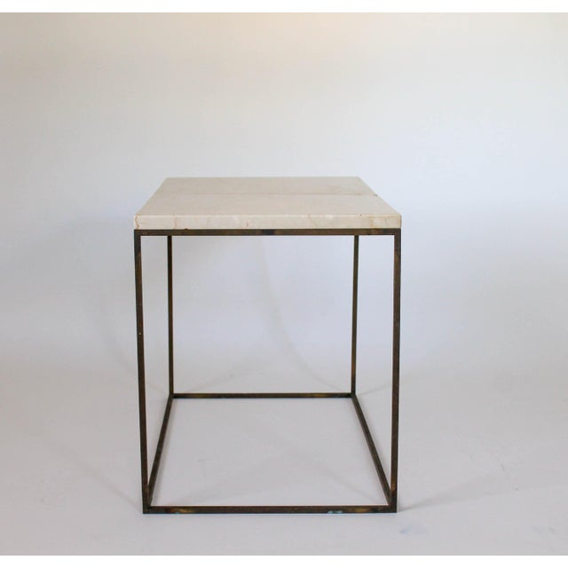 Rectangular Brass & Travertine Table For Sale - Image 5 of 11
