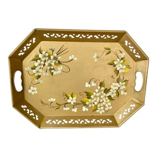 Vintage Hand Painted Tole Metal Tray For Sale