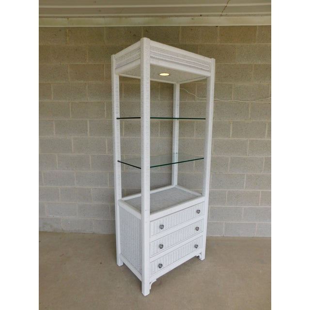 Henry Link Wicker Paint Decorated Lighted Etagere Display Cabinet For Sale - Image 13 of 13