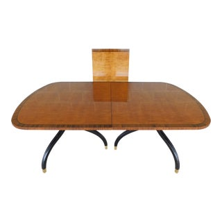 Drexel Heritage Regency Style Ebonized Double Pedestal Dining Table