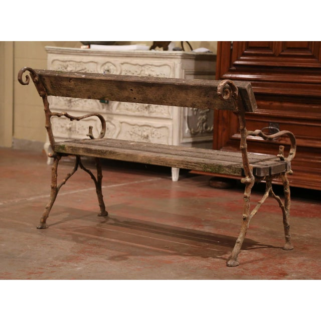 Gray 19th Century French Weathered Iron and Wood Outdoor Garden Bench For Sale - Image 8 of 9