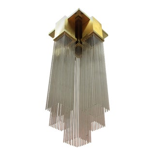 Sciolari Italian Brass and Glass Rod Pendant For Sale
