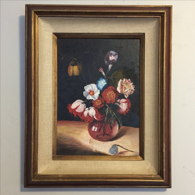 Vintage Floral Still Life Oil Painting - Image 2 of 10