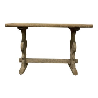 Vintage Bleached Oak Trestle Table For Sale