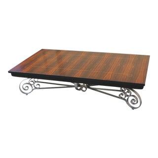 Monumental French Art Deco Iron Base Exotic Macassar Ebony Coffee Table Circa 1940s