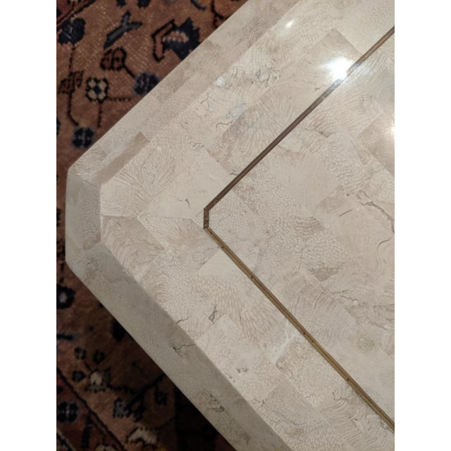 1980s Maitland Smith Tesselated Marble (Coral) Coffee Table For Sale - Image 5 of 10