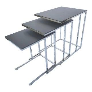 Dark Gray & Stainless Steel Nesting Tables - Set of 3