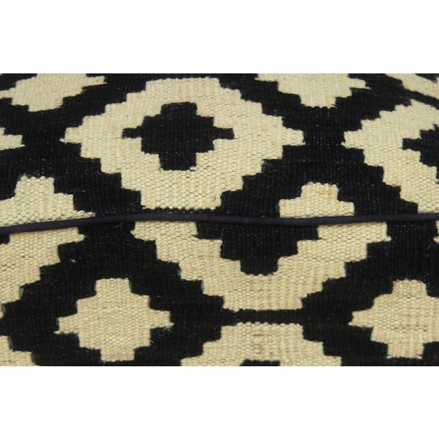 Arshs Domenic Black/Ivory Kilim Upholstered Handmade Ottoman For Sale In New York - Image 6 of 7