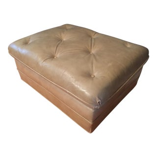 Vintage Distressed Leather Ottoman on Wheels For Sale