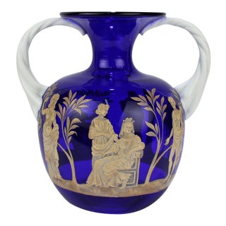 Pauly & Co Mid-Century Modern Blue & White Murano / Venetian Glass Portland Vase For Sale