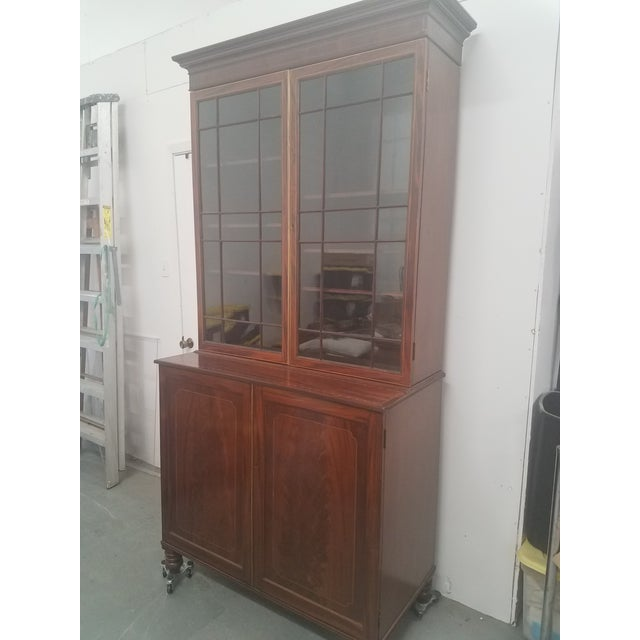 Antique English Bookcase Cupboard - Mahogany With Marquetry This bookcase cupboard is a very nice one and in great...