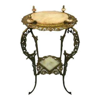 Art Nouveau Two-Tier Onyx & Gilded Iron Plant Stand