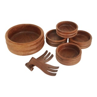Vintage Kalmar Teak Wave Design Salad Service- Set of 7 For Sale