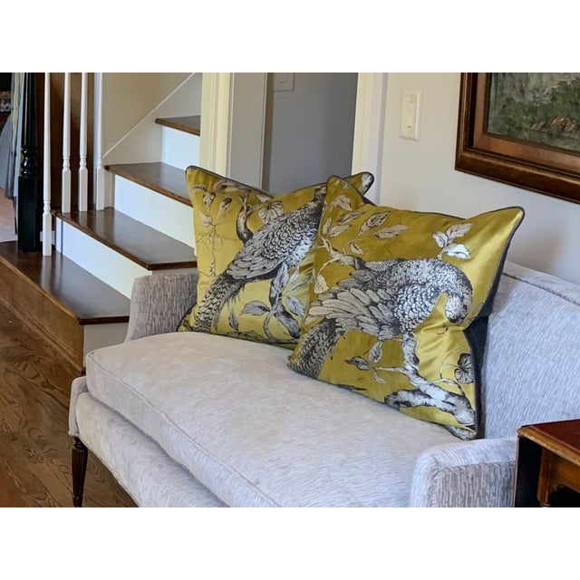Textile Zoffany Darnley Toile-Tigers Eye Chartreuse and Gray Down Filled Pillows - a Pair For Sale - Image 7 of 8