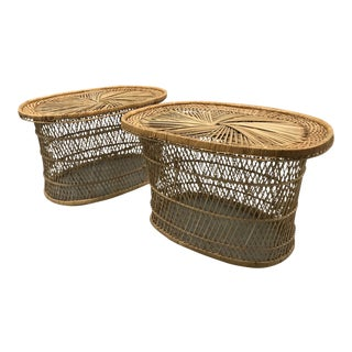 Vintage Wicker Woven Tables - A Pair