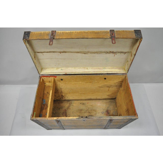 Iron Late 19th Century Antique Primitive Wooden Trunk/Blanket Chest For Sale - Image 7 of 13