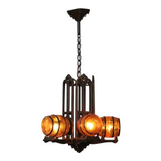 1930s Tavern Chandelier With Barrell Shades For Sale